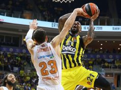 Fenerbahçe Beko Baskonia'yı evinde konuk ettiği mücadelede Derrick Williams ile Shengelia görseli